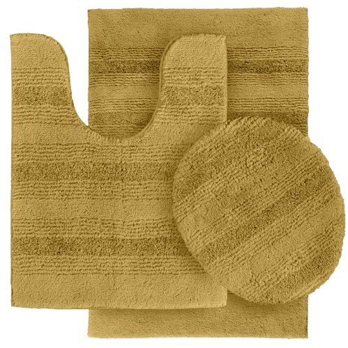 Garland Rug 3-Piece Essence Nylon Washable Bathroom Rug Set, Linen