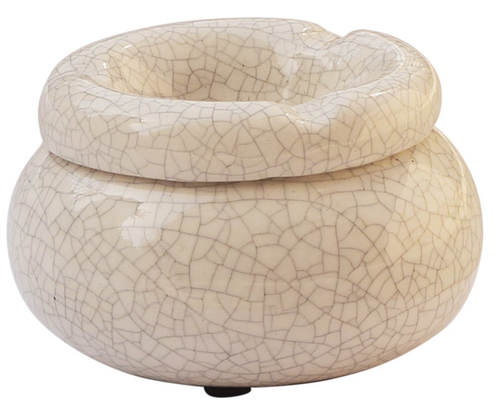 """Moroccan Round Ashtray 4"""" Crackle Ceramic Ash Tray with 3 Cigarette Holder Slots"""
