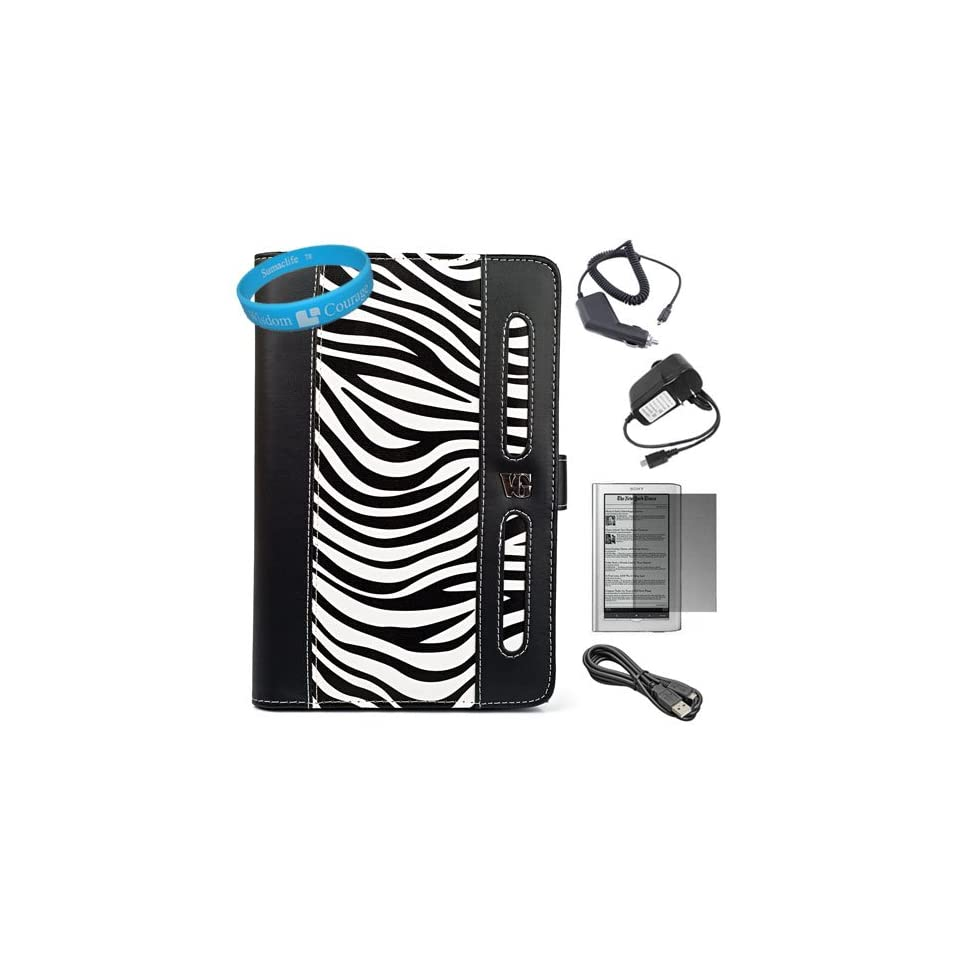 Black / White Zebra Print Executive Leather Portfolio Case Cover with Elastic Zebra Print Hand Strap for Sony PRS 950SC Daily Edition Reader + Screen Protector + Black Micro USB Car Charger + Black Micro USB Home Charger + Black Micro USB Data Cable + Suma
