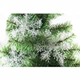 Ids 10 X Sparkly Shinning Snowflake Christmas Decorations Ornaments - White