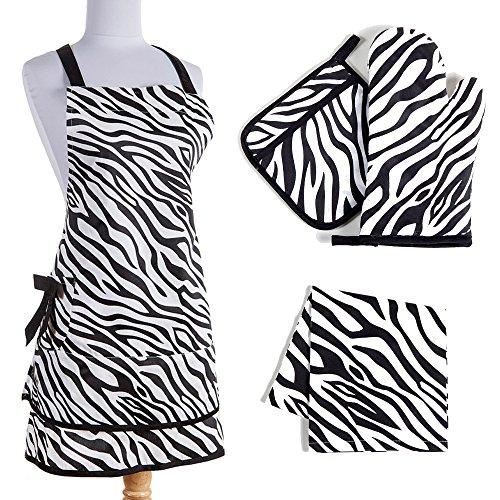 Zebra Print Kitchen Linen Set Includes Apron And Oven Mitt