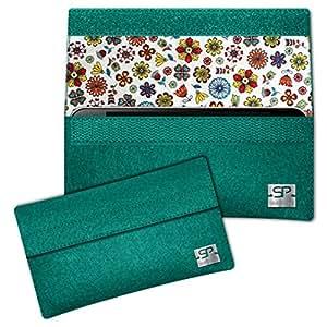 SIMON PIKE Blumen Hülle Handytasche NewYork 8 smaragd für Apple iPhone 5S 5C 5 aus Filz