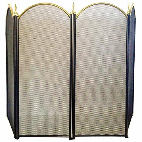 4 panel outdoor large gold fireplace screen wrought iron for Indoor screen door