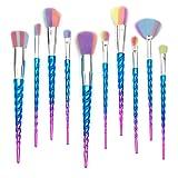 Qivange Unicorn Makeup Brushes, Foundation Eyeshadow Powder Concealer Contour Fan Brush Unicorn Designed Rainbow Hair (10pcs, Blue) (Color: 10 PCS Unicorn Makeup Brushes(Blue))