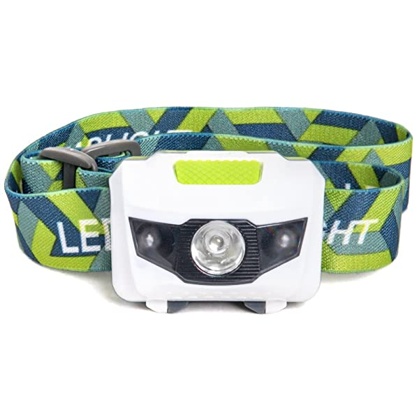 LED Headlamp - Great for Camping, Hiking, Kids, and Dog Walking. One of the Lightest (2.6 oz) Headlight. Water and Shock Resistant with Red Strobe. Du