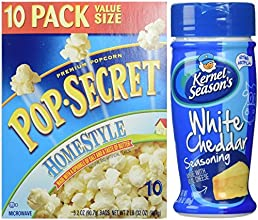 Homestyle Pop Secret Popcorn 32 Ounce Bags 10 Pack with White Cheddar Seasoning 285 Ounce Shaker Bun