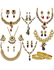 Surat Diamonds Traditional Set Of 7 Coloured Stone & Gold Plated Fashion Jewellery Sets With 4 Gold Plated Bangles...