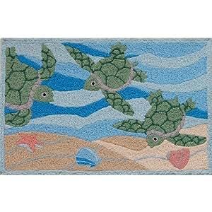 Amazon Jellybean Sea Turtle Beach Indoor Outdoor Rug