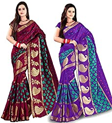 Combo Offer Indian Unique Fashion New Bollywood Best Women's Traditional Art Banarasi Saree (Pack of 2, Multicolor)