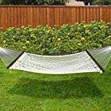 "Best Choice Products Hammock 59"" Cotton Double Wide Solid Wood Spreader Outdoor Patio Yard Hammock"