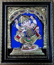Kum Kum Gallery Dancing Ganesha Tanjore Painting ( Multicolor , 30.48 X 38.1 Cm )