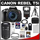 Canon EOS Rebel T5i Digital SLR Camera & 18-135mm IS STM & 55-250mm IS STM Lens with 64GB Card + Battery + Case + Flash + Tripod + Kit