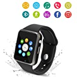 Bluetooth Smart Watch - Wzpiss Smartwatch Touch Screen Wrist Watch Camera/SIM Card Slot Compatible iOS iPhones Android Samsung Kids Women Men (Black) (Color: Black)