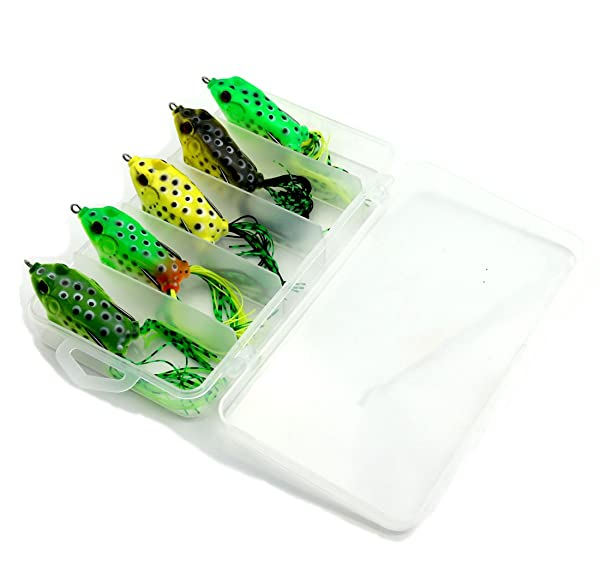 Qazz Fishing Lure Set With Tackle Box Includes Plastic Soft Frog Lures