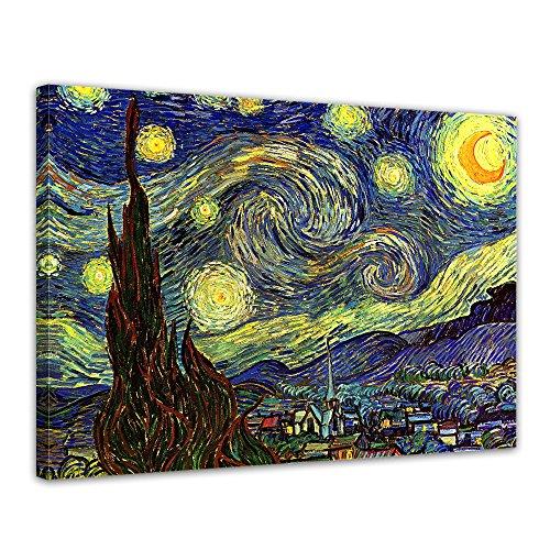 """Bilderdepot24 Leinwandbild Vincent van Gogh - Alte Meister """"Sternennacht"""" 70x50cm - fertig gerahmt, direkt vom Hersteller"""