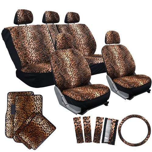 OxGord 17pc Cheetah Seat Cover Carpet Floor Mat Set for Car/Truck/Van/SUV, Orange Brown (Brown Leopard Seat Covers compare prices)
