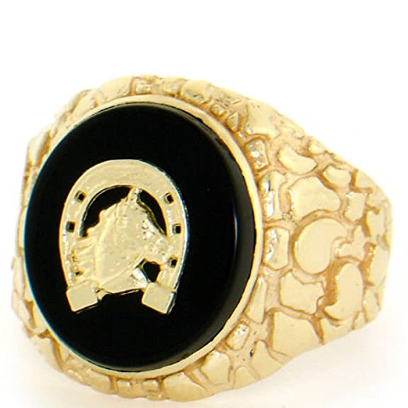 9ct Solid Gold Nugget Oval Onyx Horseshoe Mens Ring