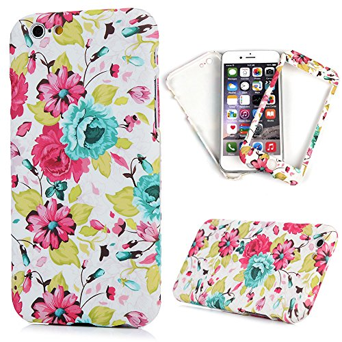 """iPhone 6S Plus Case,iPhone 6 Plus Case (5.5"""") - [2 in 1] Full Hybrid Slim Protective Cute Colorful Digital Print Hard PC Cover + Tempered Glass Screen Film by Badalink - Colorful Flowers"""
