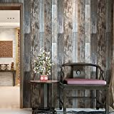 HaokHome 5003 Vintage Faux Wood Wallpaper Rolls Slategray/Brown Barnwood Wallpaper Murals Home Kitchen Bathroom Decoration 20.8