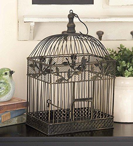 Deco 79 88016 2-Piece Metal Square Bird Cage Set 1