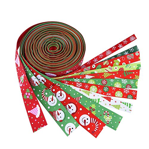 Learn More About Outus Christmas Grosgrain Ribbon Winter Holiday Ribbon 6.6 Feet, 12 Pieces, Multico...