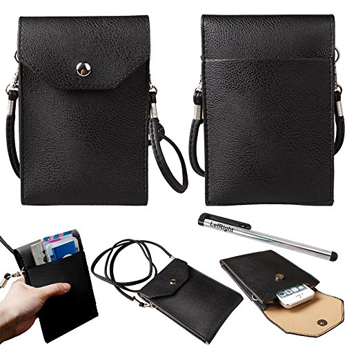 LefRight TM Black Unicolor Outfit Travel Universal PU Leather Wallet Cross Pouch Bag Shoulder Strap For iPhone iPod Samsung Mobile