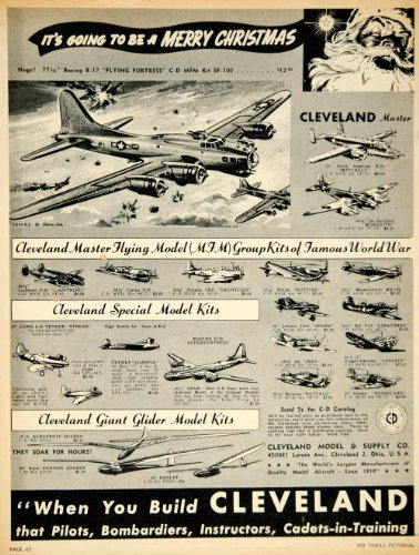 1945 Ad Cleveland Model WWII Airplanes Christmas Boeing B17 Flying Fortress - Original Print Ad