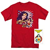 Wonder Woman Pop Art DC Comics T Shirt (Medium) (Color: Red, Tamaño: Medium)