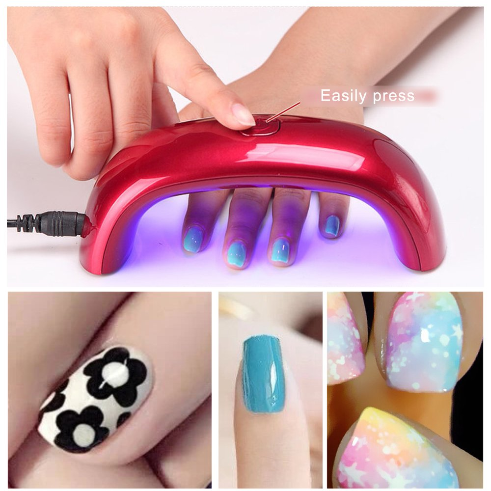 Reefeel 9W LED UV Nail Dryer for Art Gel Polish fast Curing Manicure Machine Kit,Perfect for Home or Salon