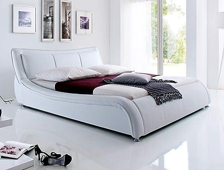 Polsterbett Bett Soraja weiß Kunstleder Ehebett Bett Doppelbett Bettgestell Kunstleder , Liegefläche:160 x 200 cm