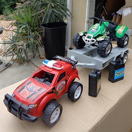 Police Sport Racing Car With Monster 4x4 ATV Motorcycle in Trailer Truck (Motorcycle Toy Trailer compare prices)