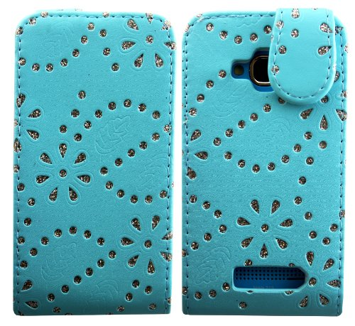 cellmax Klappetui für Nokia Lumia 610 (Leder, Telefonhalter in stabiler Gehäuseausführung innen) Blattmuster aus Glitzer / Rosa