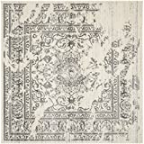 Safavieh Adirondack Collection ADR101B Ivory and Silver Square Area Rug, 8 feet Square (8' Square)