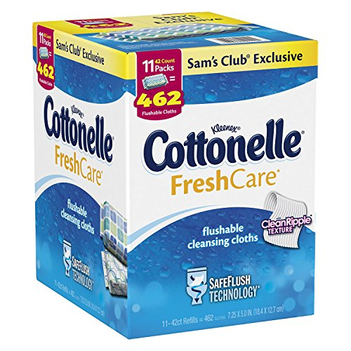 Kleenex Cottonelle FreshCare Flushable Cleansing Cloths (11 pk., 42 ct.) (Flushable Adult Wet Wipes compare prices)