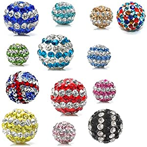 Disco Balls Clay Beads Stripes 10MM Czech Crystal Shamballa Pave Premium Quality DIY By eArt