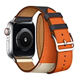 Leather Double Tour Band Strap Replacement Smartwatch Wristband Bracelet Compatible with 44mm Apple Watch Series 4, 42mm Apple Watch Series 3/2/1 (Indigo/Craie/Orange) (Color: Indigo/Craie/Orange, Tamaño: 42 mm/44 mm)