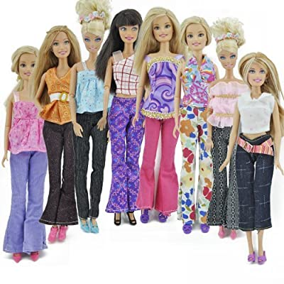 Yiding 5 Sets=10 Items=5 Clothes Outfit 5 Trousers Pants for Barbie Doll Random Style by E-TING