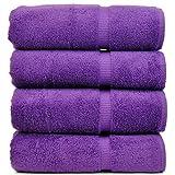 Luxury Hotel & Spa Bath Towel 100% Genuine Turkish Cotton, Set of 4 (Eggplant)