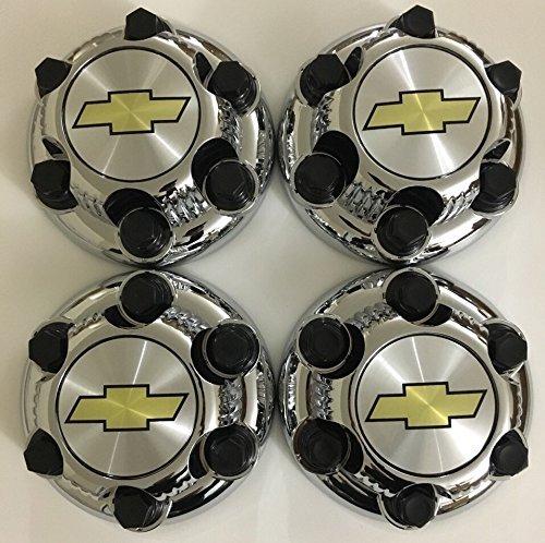 REPLACEMENT PART: Set of 4 Chrome Chevy Silverado 6 Lug 1500 Center Caps 16