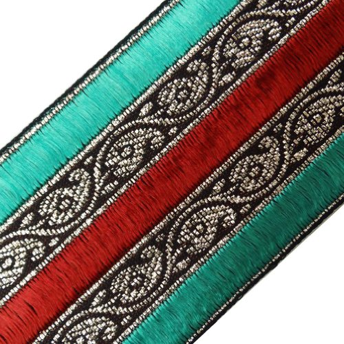 Wide Cyan Red Thread Weaving Sari Border Lace Sewing Craft Women India 3 Yd