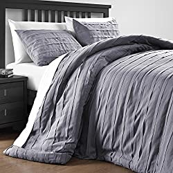 P&R Bedding Loft Stripe Embellished 3 Piece Comforter Set (Queen, Gray)