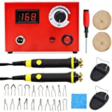 20 Tips Temperature Adjustable Wood Burning Machine Kit, Dual Pen 110V 100W Digital Pyrography Machine for Wood/Leather/Gourd, Best Gifts for Christmas, Red (Color: 100W)