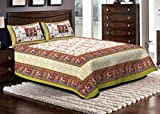 Jaipuri haat Traditional Print Cotton Double Bedsheet with 2 Pillow Covers- King Size,Green