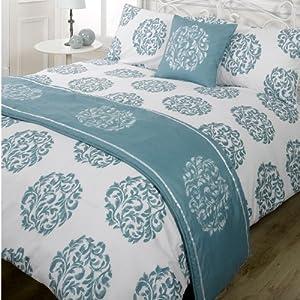 Serenade Teal King Size Duvet Quilt bedding Set Bed in Bag