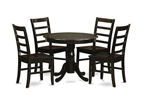 East West Furniture ANPF5-CAP-W 5-Piece Kitchen Table Set with Drop Leaf, Cappuccino Finish