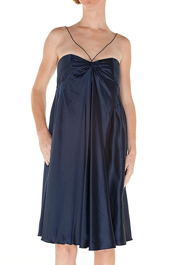 Emporio Armani Women Blue Silk Pleated Double Strap Tent Designer Dress