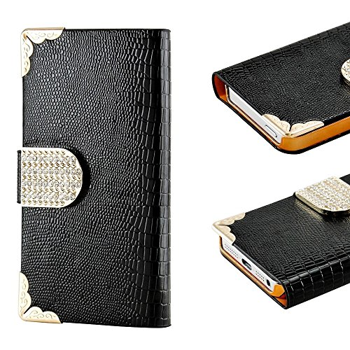 Mylife Ebony Black - Crocodile Design - Textured Koskin Faux Leather (Card And Id Holder + Magnetic Detachable Closing) Slim Wallet For Iphone 5/5S (5G) 5Th Generation Smartphone By Apple (External Rugged Synthetic Leather With Magnetic Clip + Internal Se