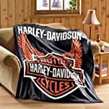 Collections Etc - Harley Davidson Fleece Throw Blanket