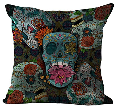 Indian Skull Cushion Cover ChezMax Cotton Linen Throw Pillow Case Sham Square Pillowcase For Seniors Bedroom Sofa Couch Rocking Chair Seat