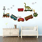 DecalMile Animal Train Wall Decals Dinosaur Elephant Giraffe Wall Stickers Peel and Stick Removable Vinyl Wall Decor for Kids Bedroom Baby Nursery Children's Room (Color: Multicolour)